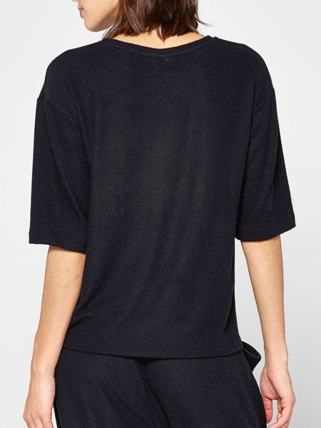 Annette Dropped Shoulder Top / Black