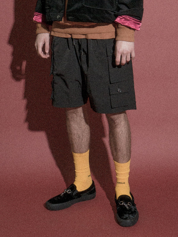 Young Nylon Cargo Shorts / Black