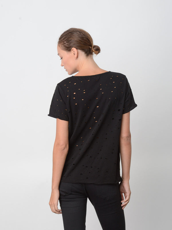 Blake Heavy Hand-Distressed Tee / Black, Women's, Clothing, Apparel - Drifter Industries