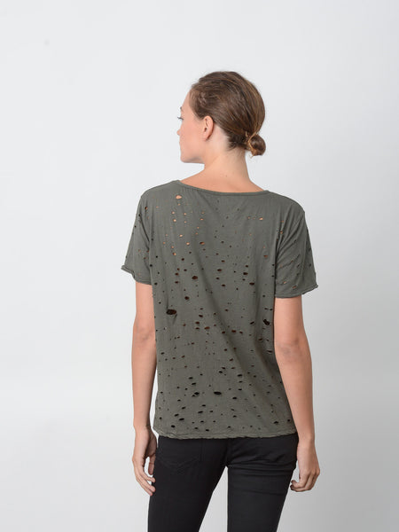 Blake Heavy Hand-Distressed Tee /  Olive, Women's, Clothing, Apparel - Drifter Industries