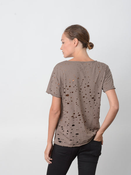 Blake Heavy Hand-Distressed Tee /  Walnut, Women's, Clothing, Apparel - Drifter Industries