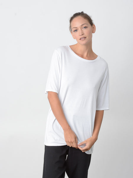 Revue Back Neck Slit Tee / White, Women's, Clothing, Apparel - Drifter Industries
