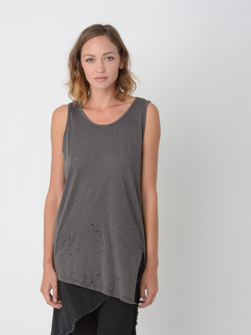 Petrous Distressed Tank / Raven, Women's, Clothing, Apparel - Drifter Industries