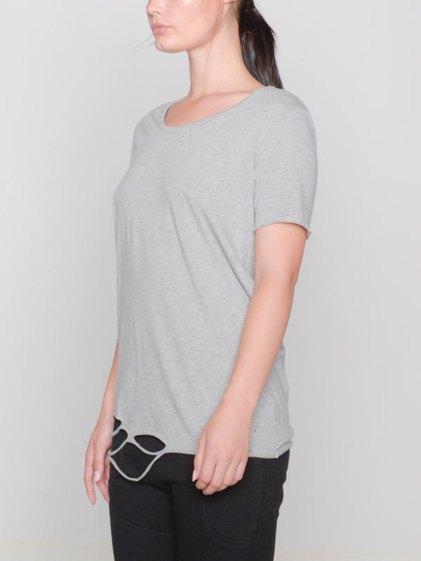 Remy Hand-Distressed Tee / Heather Grey