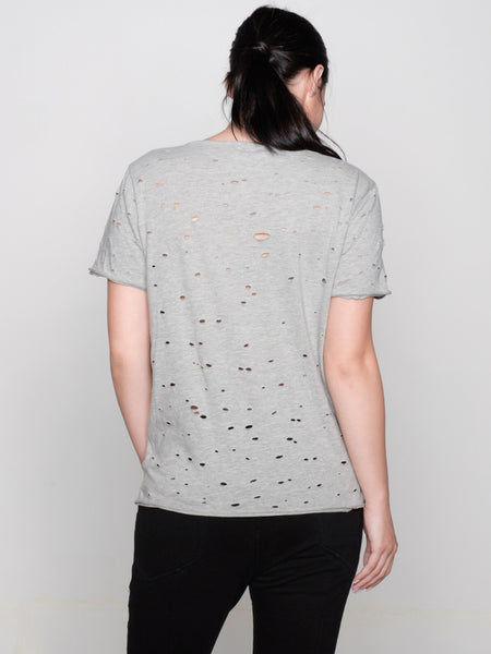 Luma Hand Distressed Tee / Heather Grey