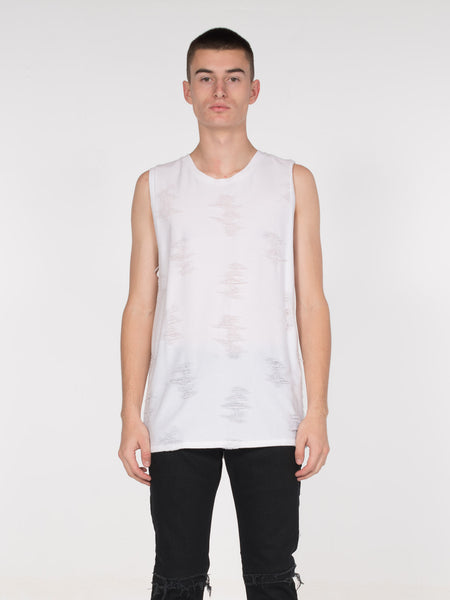 Ben Shredded Tank / Ivory, Men's, Clothing, Apparel - Drifter Industries