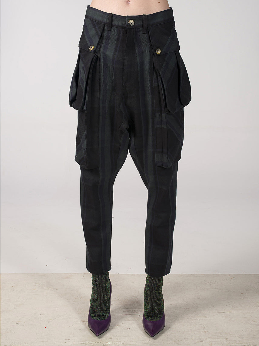 Beryl Denim Pant / Navy Plaid