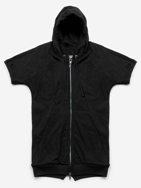 Argo Short Sleeve Full Zip Hoodie / Ash-Black