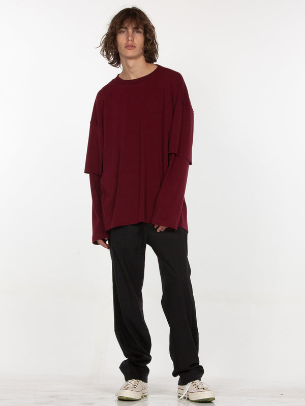 Sylvan Elongated Pullover / Burgundy, Men's, Clothing, Apparel - Drifter Industries