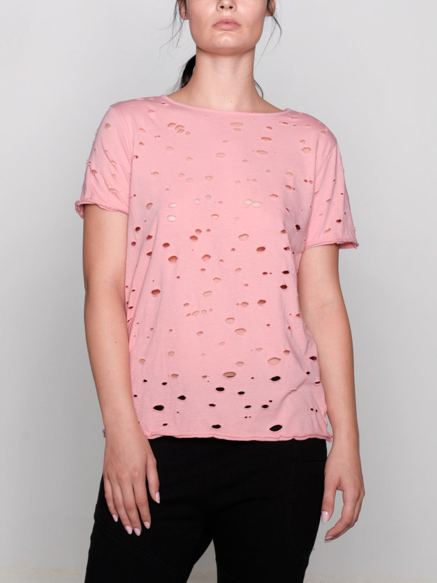 Luma Hand Distressed Tee / Coral Almond, Women's, Clothing, Apparel - Drifter Industries