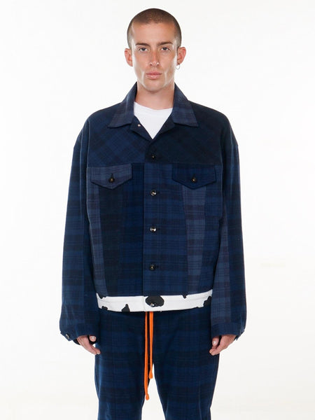 Sid Oversized Trucker Jacket / Navy Plaid