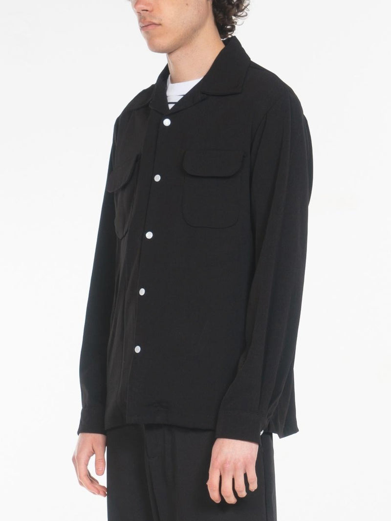 Terry Open Collar Shirts / Black