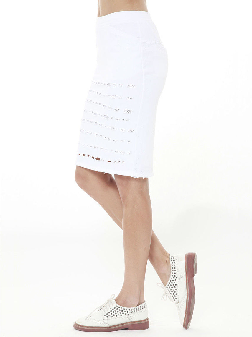 Ultra Distressed Skirt / White