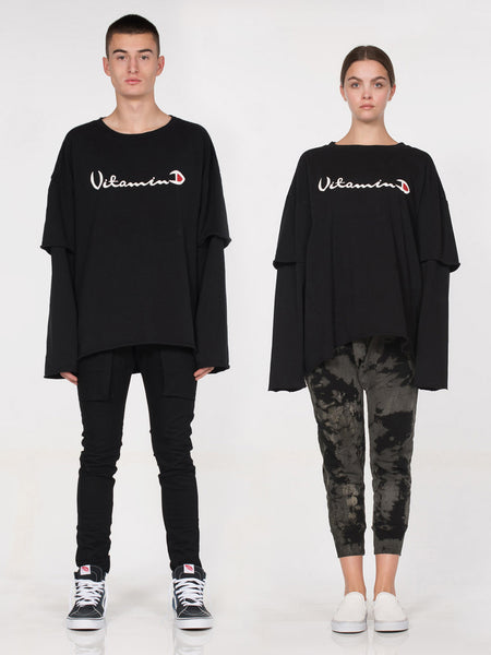 D x A Filius Vitamin D Long Sleeve Tee / Black
