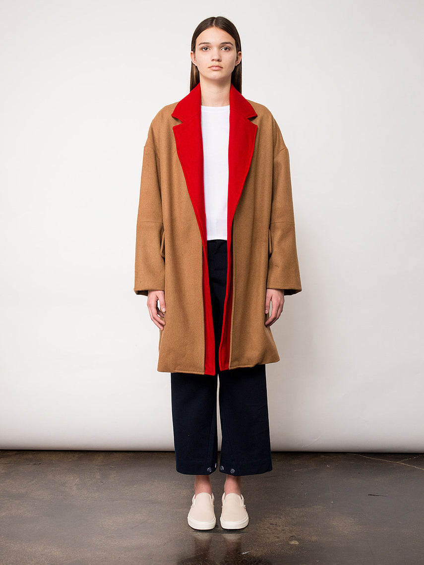 Dinah Overcoat / Tan/Red, Women's, Clothing, Apparel - Drifter Industries
