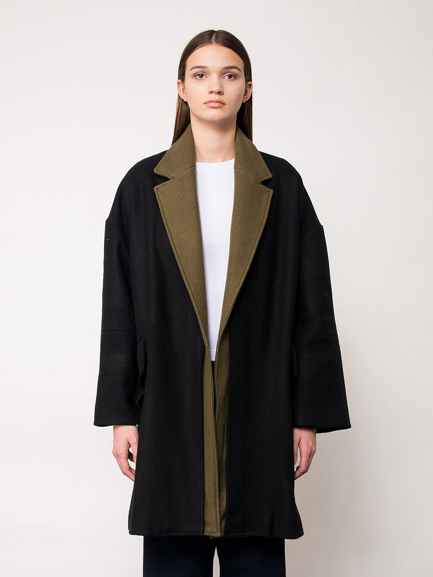 Dinah Overcoat / Black/Olive, Women's, Clothing, Apparel - Drifter Industries