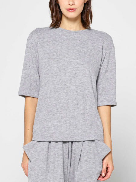 Annette Dropped Shoulder Top / Heather Grey
