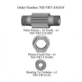 Nitro Pinion Set, 16 Tooth, R7