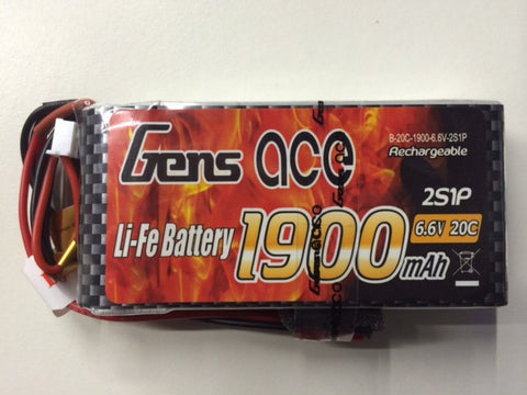 Gens Ace 2S 1900mah 6.6v 20C Li-Fe Battery