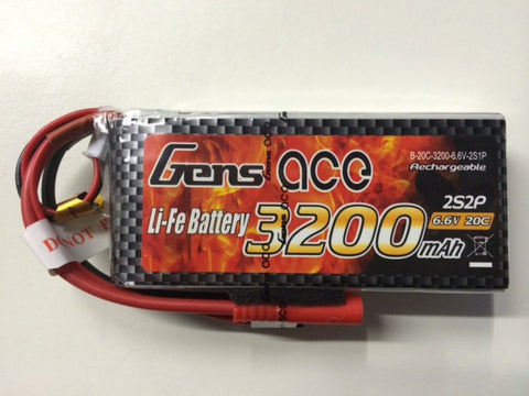 Gens Ace 2S1P 3200mah 6.6v 20C Li-Fe Battery