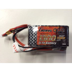 Gens Ace 2S1P 1300mah 6.6v 20C Li-Fe Battery