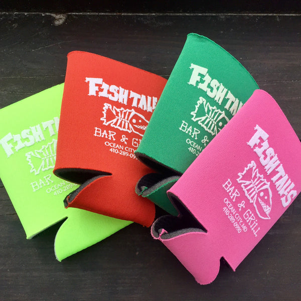 `Koozies - Fish Tales, Ocean City, MD's best waterfront restaurant and bar.  Coastal Apparel relaxed for the best of beach lovers.