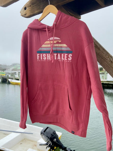 Wave Hoodie - Fish Tales, Ocean City, MD's best waterfront restaurant and bar.  Coastal Apparel relaxed for the best of beach lovers.