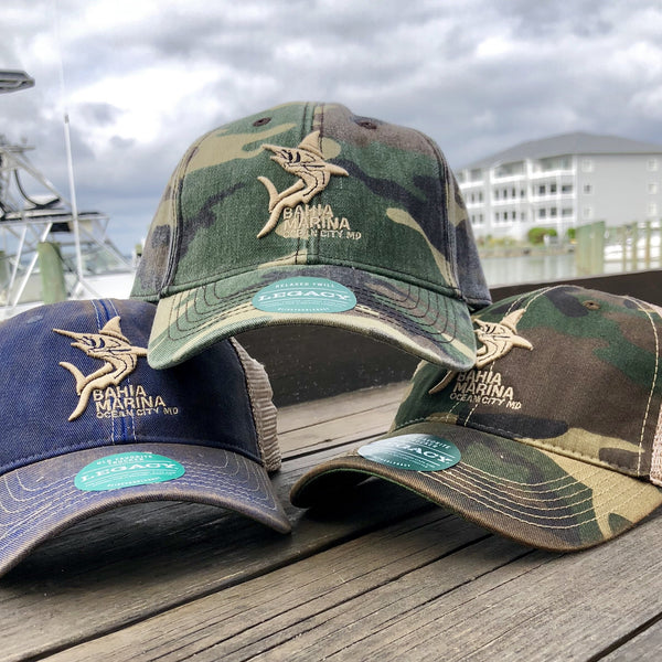 Bahia Marina Legacy Hat - Fish Tales, Ocean City, MD's best waterfront restaurant and bar.  Coastal Apparel relaxed for the best of beach lovers.
