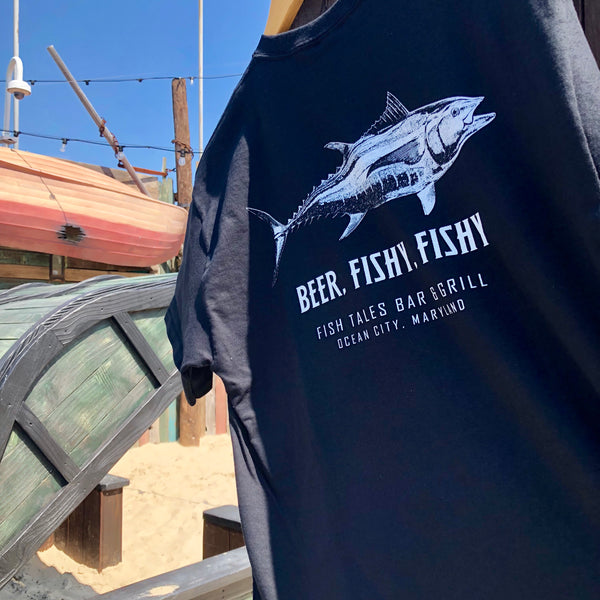 Beer Fishy Fishy SHORT T-shirt - Fish Tales, Ocean City, MD's best waterfront restaurant and bar.  Coastal Apparel relaxed for the best of beach lovers.