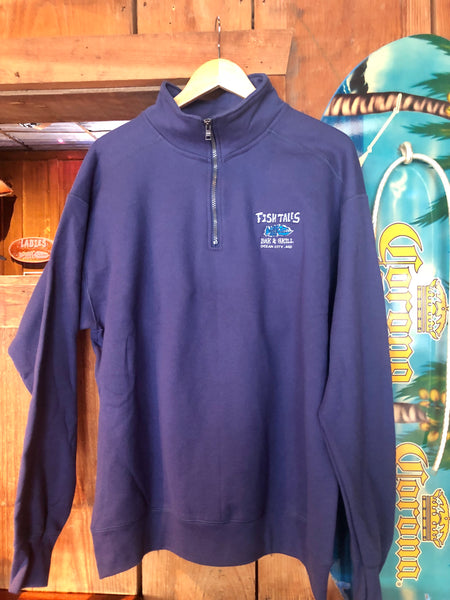 Navy Quarter Zip - Fish Tales, Ocean City, MD's best waterfront restaurant and bar.  Coastal Apparel relaxed for the best of beach lovers.