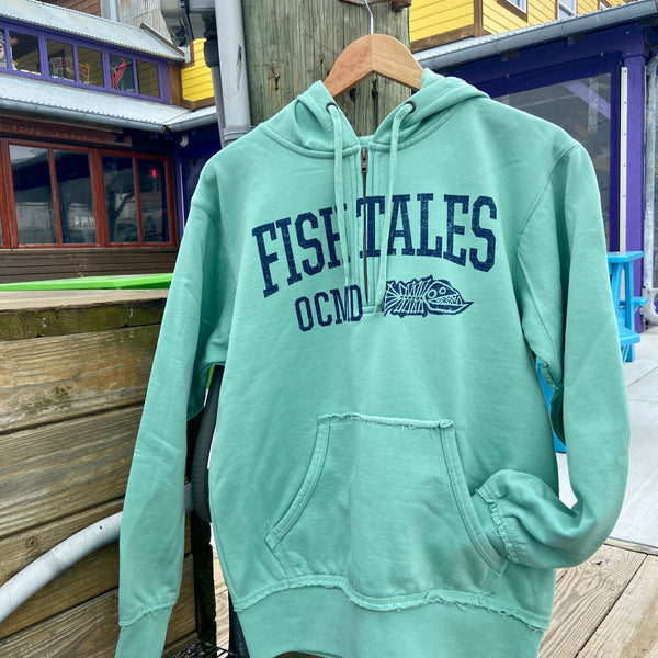 Navigator 1/4 Zip Hoodie - Fish Tales, Ocean City, MD's best waterfront restaurant and bar.  Coastal Apparel relaxed for the best of beach lovers.