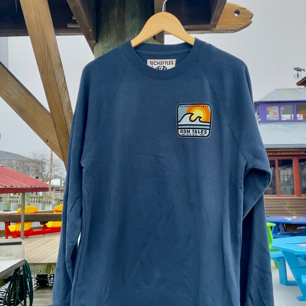Sunset Wave Crewneck Sweatshirt - Fish Tales, Ocean City, MD's best waterfront restaurant and bar.  Coastal Apparel relaxed for the best of beach lovers.