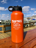 32oz Steel Water Bottle - Fish Tales, Ocean City, MD's best waterfront restaurant and bar.  Coastal Apparel relaxed for the best of beach lovers.