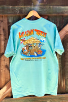 Cartoon Tiki Short Sleeve Tshirt - Fish Tales, Ocean City, MD's best waterfront restaurant and bar.  Coastal Apparel relaxed for the best of beach lovers.