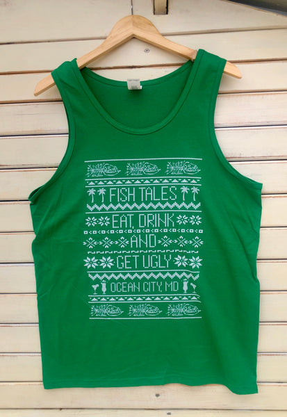 Christmas Ugly TANK Top - Fish Tales, Ocean City, MD's best waterfront restaurant and bar.  Coastal Apparel relaxed for the best of beach lovers.