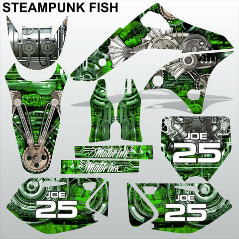 Kawasaki KXF 250 2006-2008 STEAMPUNK FISH motocross racing decals MX graphics