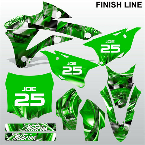 Kawasaki KX 85-100 2014-2015 GREEN FINISH LINE motocross decals set MX graphics