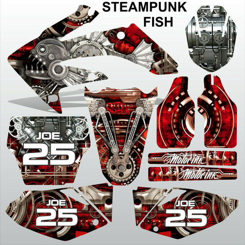 Honda CRF 250 2004-2005 STEAMPUNK FISH motocross racing decals set MX graphics