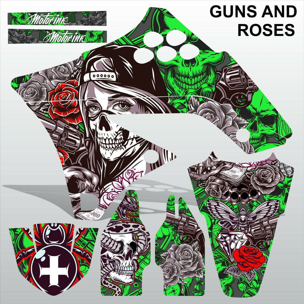 Kawasaki KXF 250 2009-2012 GUNS AND ROSES motocross decals set MX graphics kit