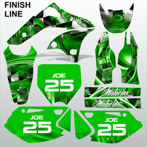 Kawasaki KXF 250 2006-2008 GREEN FINISH LINE motocross decals set MX graphics