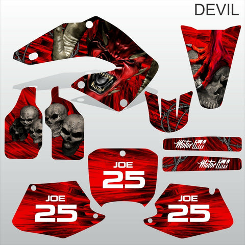 Honda CR125 CR250 2000 2001 DEVIL PUNISHER motocross decals set MX graphics kit