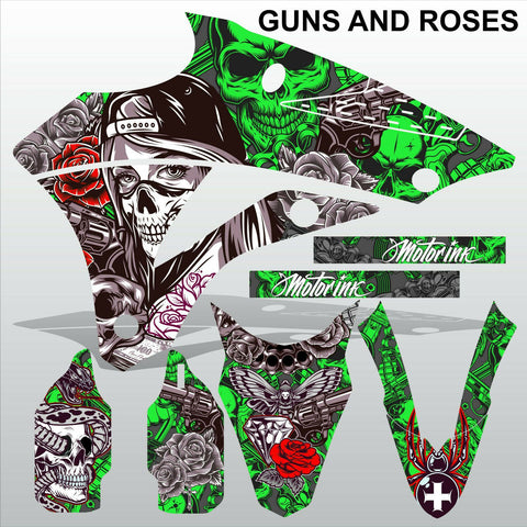 Kawasaki KX 85-100 2014-2020 GUNS AND ROSES motocross racing decals MX graphics