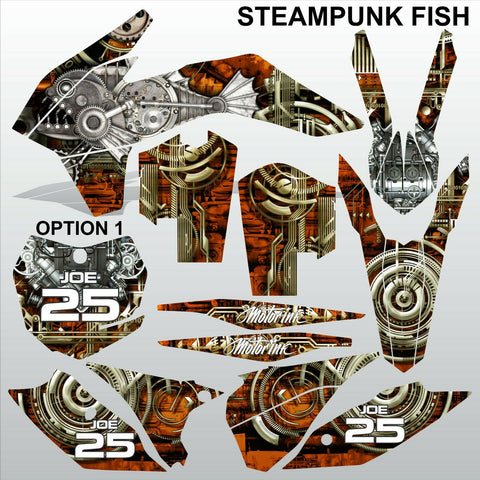 KTM EXC 2014 STEAMPUNK FISH motocross racing decals set MX graphics stripe kit