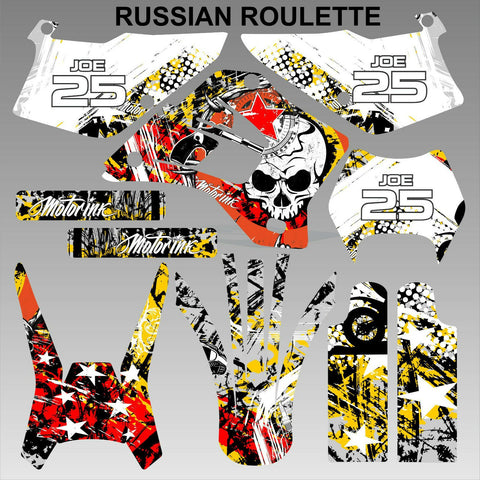 Kawasaki KDX 200 220 1995-2008 RUSSIAN ROULETTE motocross decals set MX graphics