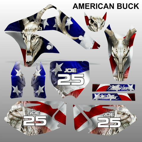 Kawasaki KXF 250 2006-2008 AMERICAN BUCK motocross decals set MX graphics kit