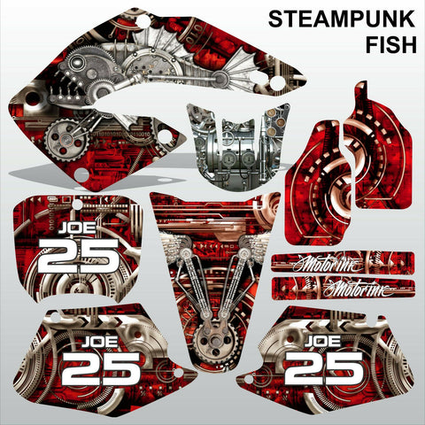 Honda CR125 CR250 2000 2001 STEAMPUNK FISH motocross racing decals MX graphics