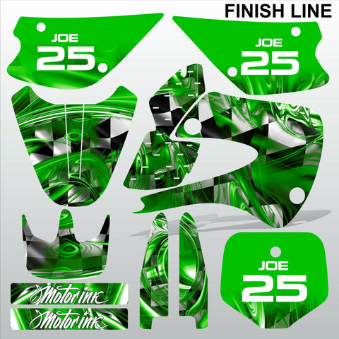Kawasaki KX 85-100 2001-2012 GREEN FINISH LINE motocross decals set MX graphics