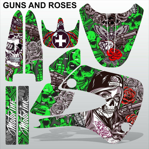 Kawasaki KX 85-100 2001-2012 GUNS AND ROSES motocross decals set MX graphics kit