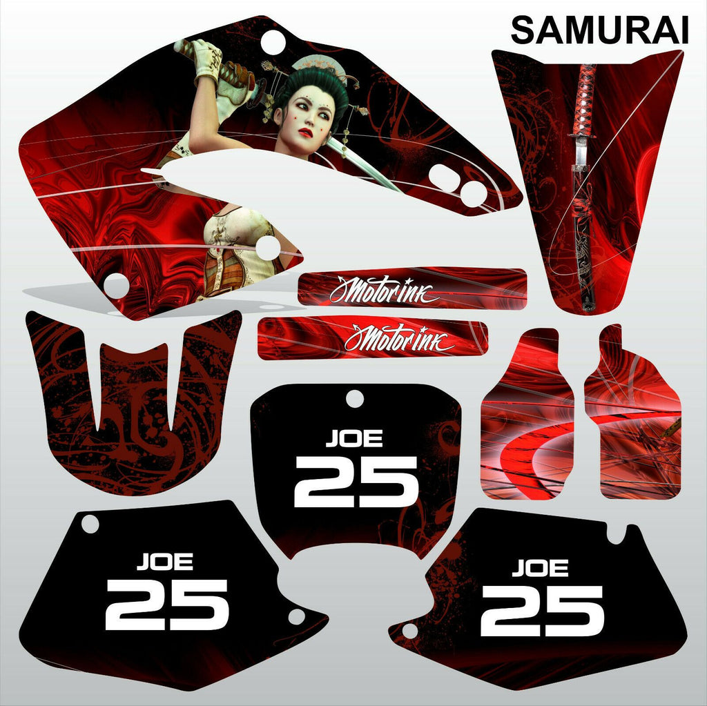 Honda CR125 CR250 2000 2001 SAMURAI motocross racing decals set MX graphics kit
