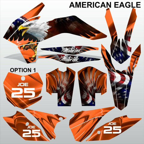 KTM EXC 2014 AMERICAN EAGLE motocross racing decals set MX graphics stripe kit